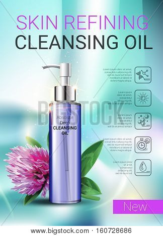 Deep Cleansing Oil ads. Vector Illustration with skin cleansing oil bottle.