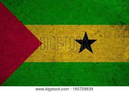 Sao Tome And Principe Flag On An Old Grunge Background