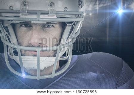 3D Portrait of stern American football player against american football arena