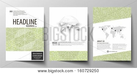 Business templates for brochure, magazine, flyer, booklet or annual report. Cover design template, easy editable vector, abstract flat layout in A4 size. Green color background with leaves. Spa concept in linear style. Vector decoration for cosmetics, bea