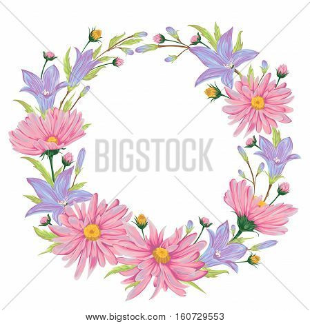Wreath with blue bluebells and pink chamomile flowers. Collection floral design elements for wedding invitations and birthday cards. Isolated elements. Vintage vector illustration in watercolor style.