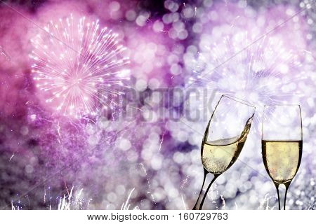 Glasses with champagne against holiday lights - New Year background