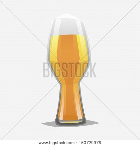 Realistic color cartoon style craft beer glass. Isolated. Vector illustration.