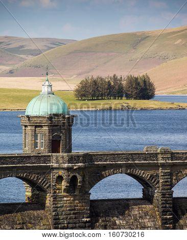 Elan Valley reservoir and dam near Rhayader Powys Wales.