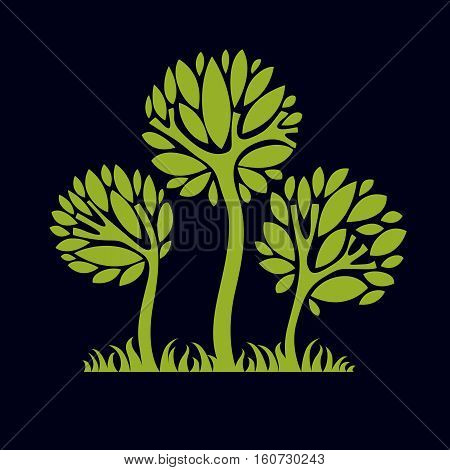 Artistic Stylized Natural Design Symbol, Creative Tree Illustration. Can Be Used As Ecology And Envi