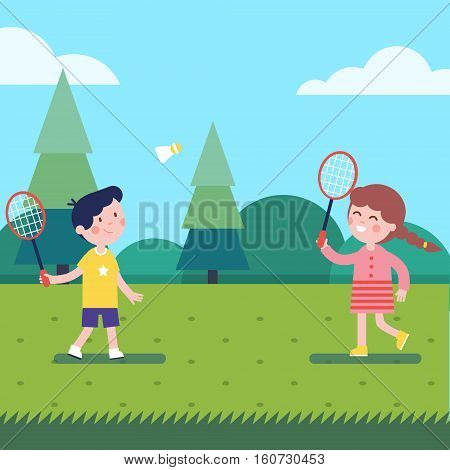 Kids playing badminton outdoor on the grass. Modern flat vector illustration clipart.