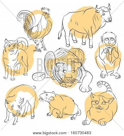 Eight Chinese calendar animals rooster dog pig rat cat monkey tiger and ox. For your convenience each significant element is in a separate layer. eps10