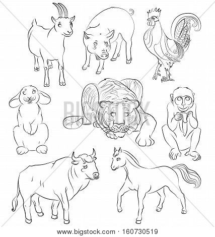image of a bull goat pig horse tiger monkey and rabbit - suitable for a child's coloring and not only. For your convenience each significant element is in a separate layer. eps10