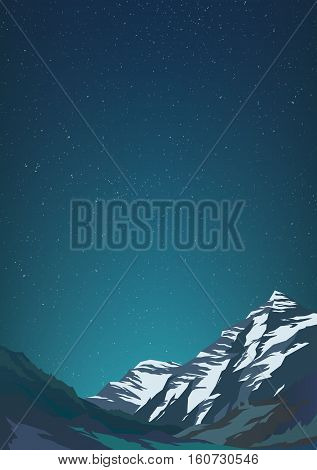 High mountains and calm clear sky with billion stars. Spectacular view. Blue glow Poster or banner. Modern realistic design. Vector illustration.