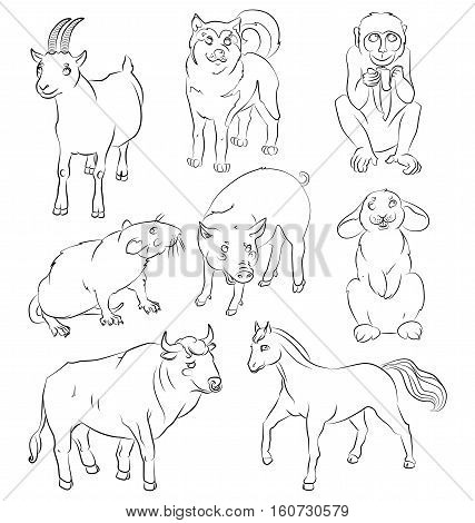 image of a bull dog goat pig horse rat monkey and rabbit - suitable for a child's coloring and not only. For your convenience each significant element is in a separate layer. eps10