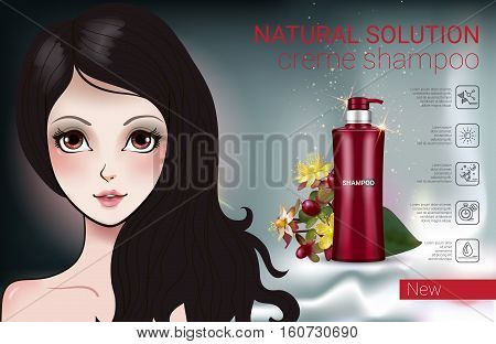 Herbal Shampoo ads. Vector Illustration with Manga style girl and shampoo bottle.