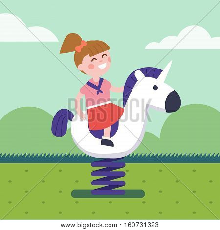 Girl riding a spring horse ride at park playground. Smiling kid character. Modern flat vector illustration clipart.