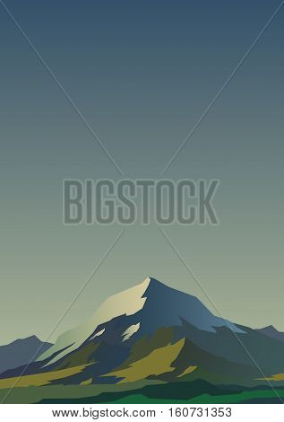 High mountains and calm clear sky. Spectacular morning view with deep shadows. Yellow glow. Poster or banner. Modern realistic design. Vector illustration.