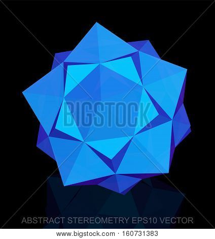 Abstract stereometry: low poly Blue Dodecahedron. 3D polygonal object, EPS 10, vector illustration.