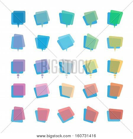 Collection of modern rainbow colors blank transparent speech bubbles and dialog balloons. Vector illustration.