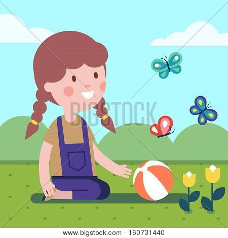 Girl playing ball on a meadow with flowers and butterflies. Smiling kid character. Modern flat vector illustration clipart.