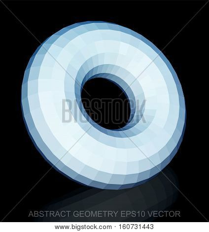 Abstract stereometry: low poly White Torus. 3D polygonal object, EPS 10, vector illustration.