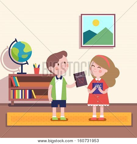 Boy giving book about animals to a girl holding abc primer volume. Kids friendship characters. Modern flat vector illustration clipart.