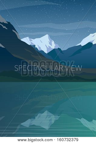 High mountains and calm lake water landscape. Clear sky and stars. Spectacular view. Poster. Modern flat design. Vector illustration.