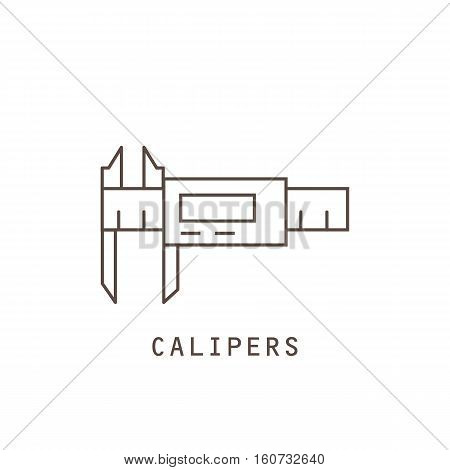 Icon electronic calipers on white background. Vector illustration.