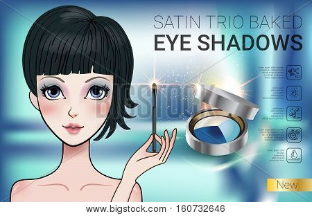 Eye shadows ads. Vector Illustration with Manga style girl and set color palette with eye shadows.