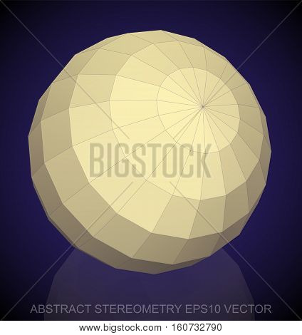 Abstract stereometry: low poly Yellow Sphere. 3D polygonal object, EPS 10, vector illustration.