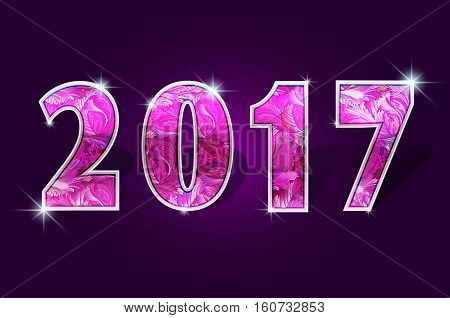 2017 year rubi pink shine design 2017 creative design for greetings card, flyers, invitation, posters, brochure, banners, calendar Vector illustration stock vector.