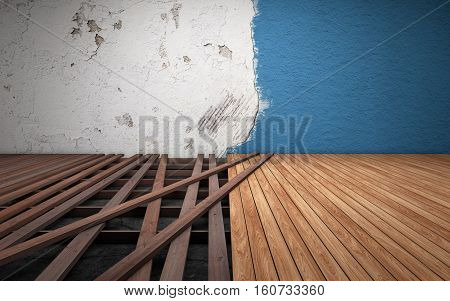 Old dirty room repairing. Broken floor wood planks. 3d rendering