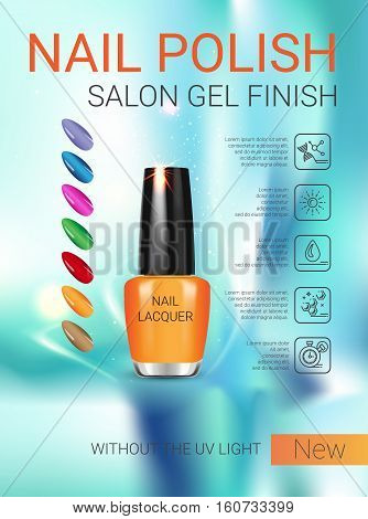 Nail polish ads. Vector Illustration with nail polish in glass bottle.
