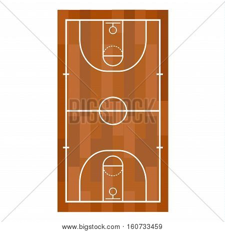 Simple basketball field vector element professional concept. Game competition basketball field team recreation. Athletic court champion equipment. Win tournament sport leisure.