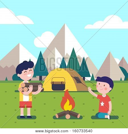 Hiking kids at the campfire near their camping tent at the mountain foots. Boy brings some firewood at the bonfire. Modern flat style vector illustration. Cartoon character clipart.