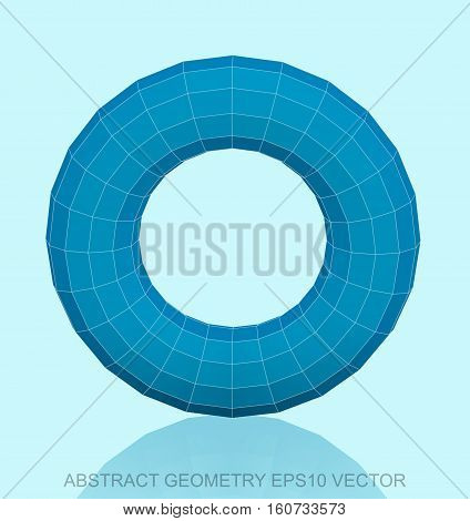 Abstract stereometry: low poly Blue Torus. 3D polygonal object, EPS 10, vector illustration.