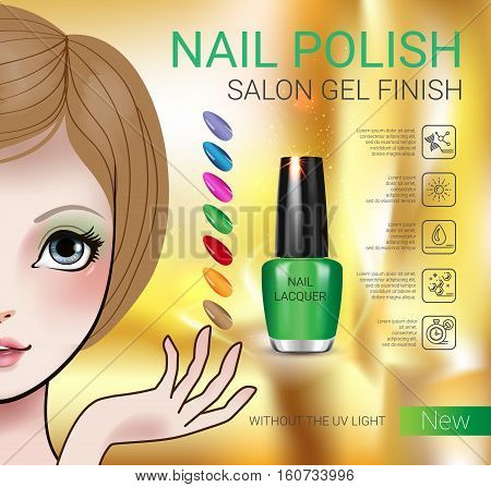 Nail polish ads. Vector Illustration with Manga style girl and nail polish in glass bottle.