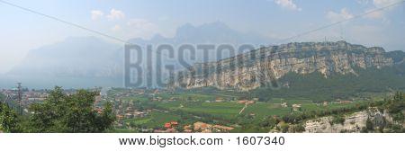 Garda Lake With High Mountains On The Coast, Italia, Panorama
