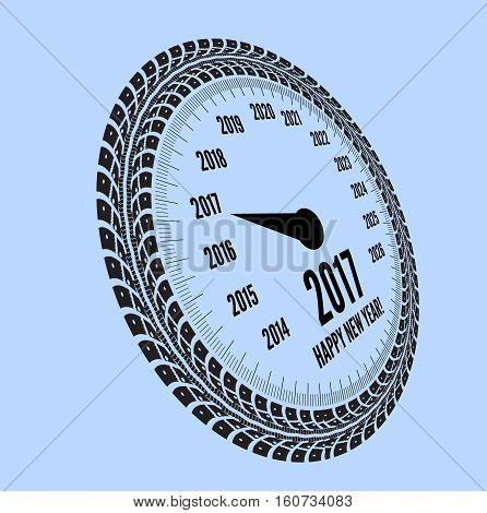 Speedometer 2017 year greeting. Styling by tire tracks. Vector illustration