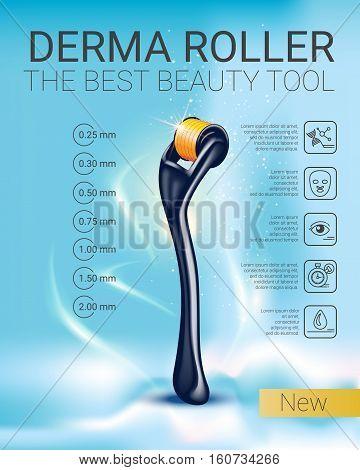 Derma Roller ads. Vector Illustration with derma roller.