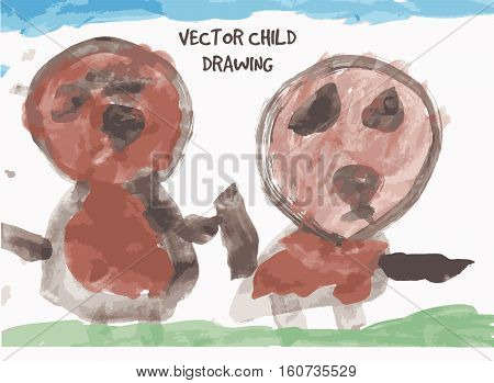 Dog friends child drawing. Color vector illustration. EPS8