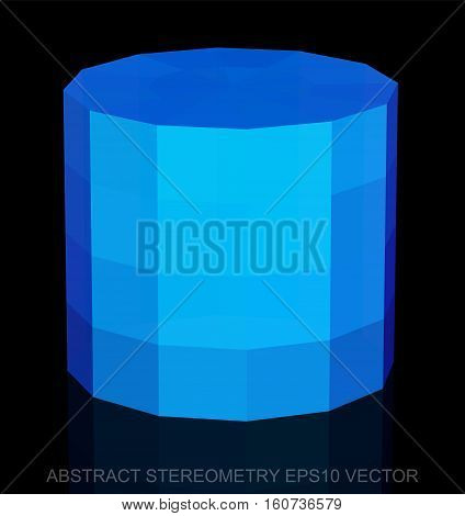 Abstract geometry: low poly Blue Cylinder. 3D polygonal object, EPS 10, vector illustration.