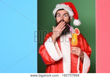 Surprised Bearded Santa Claus Man