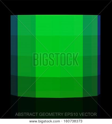 Abstract stereometry: low poly Green Cylinder. 3D polygonal object, EPS 10, vector illustration.