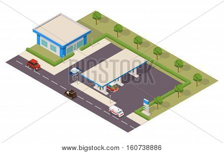 Vector isometric gas station with cars.Design element for a banner, leaflets, the website, the label.infographic element  petroleum filling station.