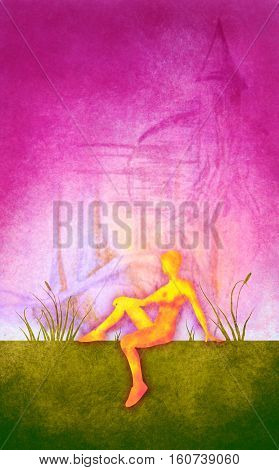 Sporty woman sits on a ground. Short hair girl silhouette . Double exposure brush painting. Green grass and vibrant sunset. Evening time. Castle sketch on backdrop