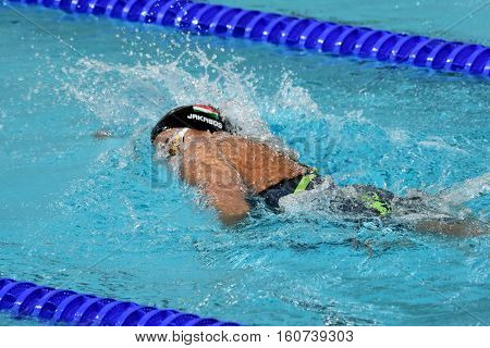 Hong Kong China - Oct 29 2016. Zsuzsanna JAKABOS (HUN) swimming in the Women's Freestyle 800m Final. FINA Swimming World Cup Victoria Park Swimming Pool.