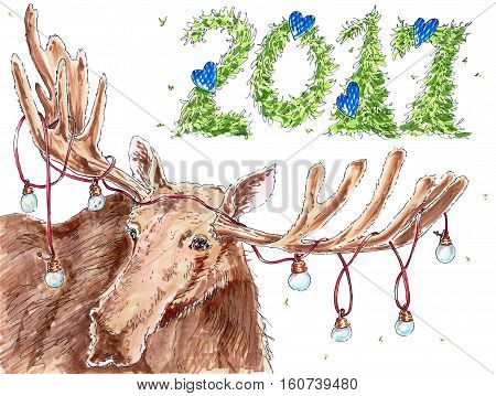 New year congratulation card 2017 with elk