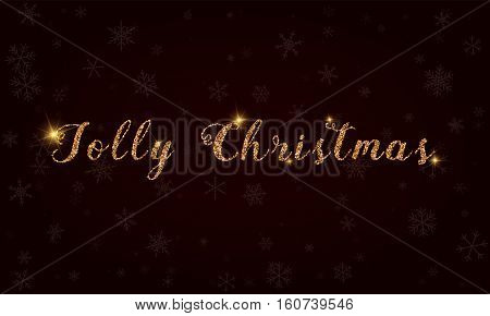 Jolly Christmas. Golden Glitter Hand Lettering Greeting Card. Luxurious Design Element, Vector Illus