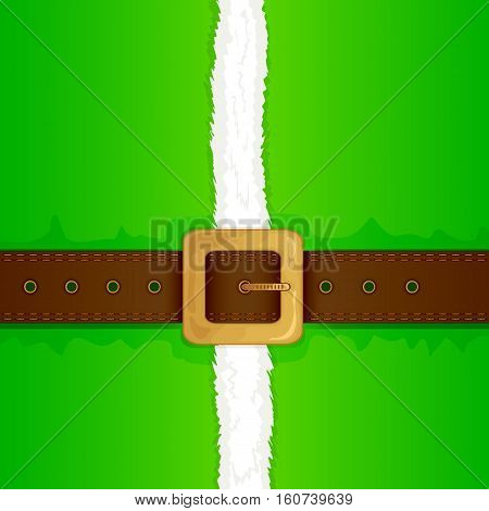 Christmas background of green elf costume with belt and gold buckle, illustration.