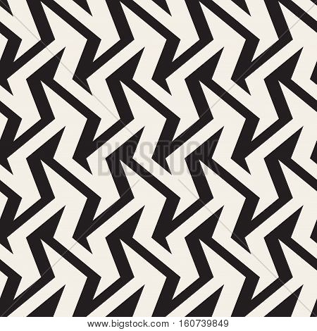 ZigZag Edgy Stripes Optical Illusion Effect. Abstract Geometric Background Design. Vector Seamless Black and White Pattern.