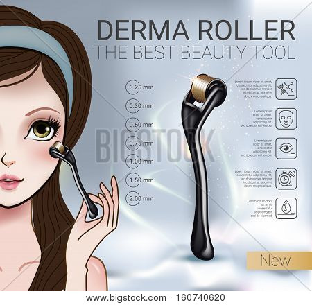 Derma Roller ads. Vector Illustration with Manga style girl and derma roller.