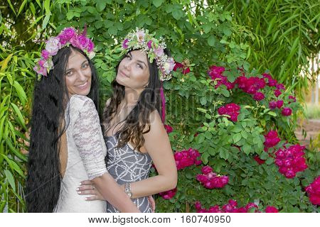 Two Funny Affectionate Women Friends Laughing Outdoors