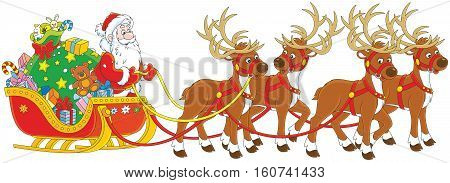 The night before Christmas, Santa Claus with a big bag of Christmas presents in his sleigh with reindeers beginning the magic journey round the world